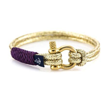 Золотистый тонкий браслет с фиолетовым акцентом для женщин — № 892