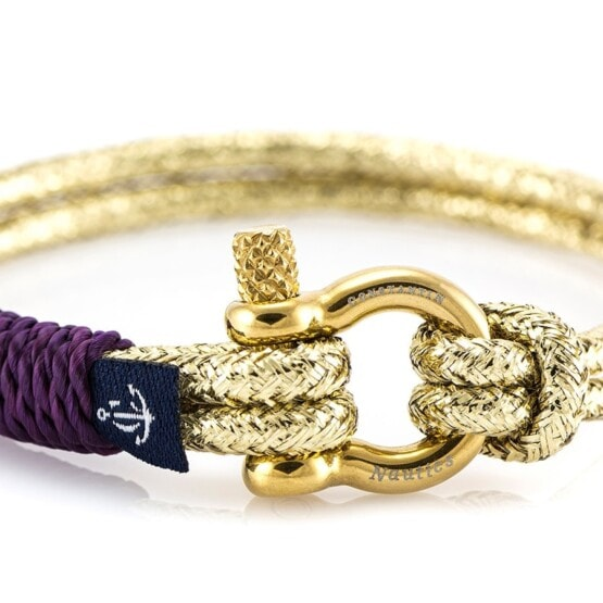 Золотистый тонкий браслет с чёрным замочком для женщин — № 894 (Копировать)