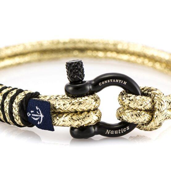 Золотистый тонкий браслет с чёрным замочком для женщин — № 894