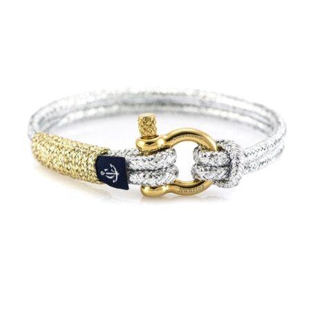 Серебристый тонкий браслет с золотистой нитью для женщин — № 895