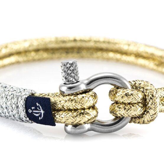 Золотистый тонкий браслет с серебристой нитью для женщин — № 896