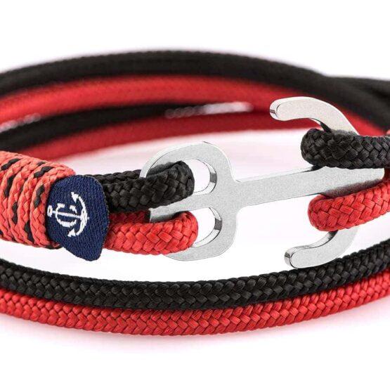 Двойной браслет с железным якорем чёрно-красного цвета  — № 9000