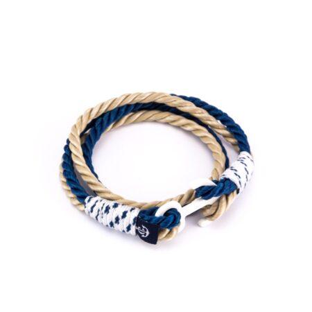Двойной браслет с белым якорем бежево-синего цвета  — № 9005