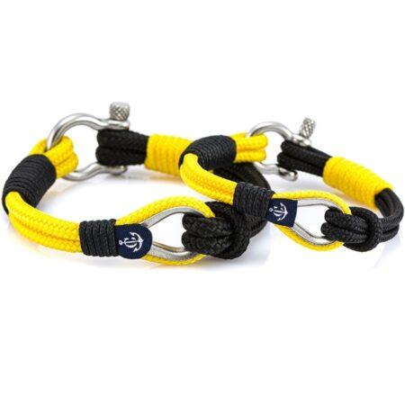 Парные браслеты чёрно-жёлтого цвета — № 965