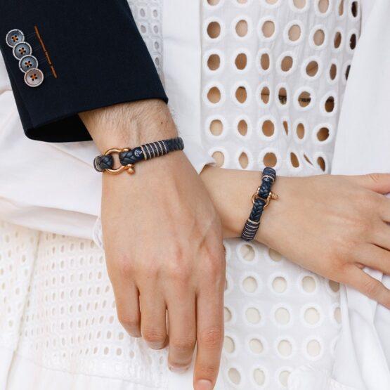 Парные браслеты из кожи синего цвета № 985