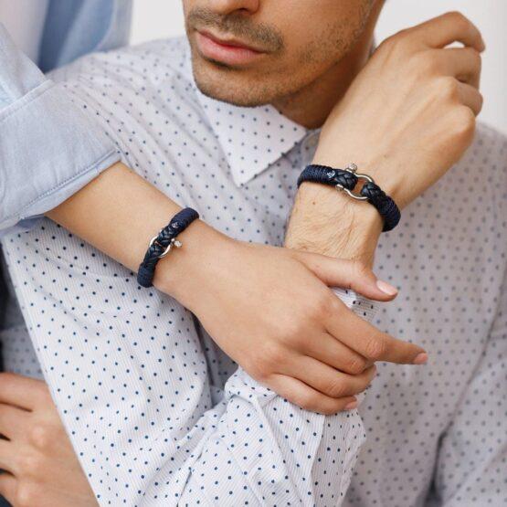 Парные браслеты из кожи синего цвета № 986