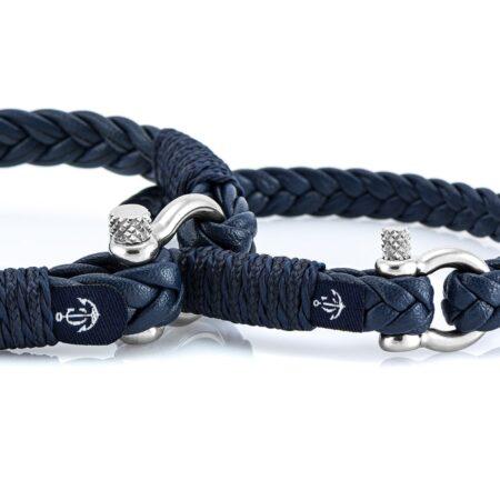 Парные браслеты из кожи чёрного цвета № 986