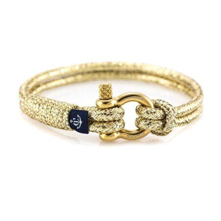 Золотистый тонкий браслет для женщин и мужчин — № 898