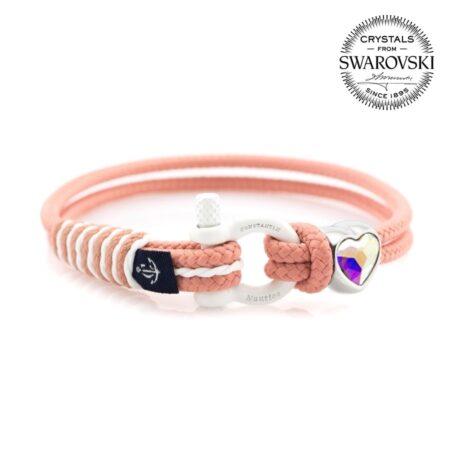 Женской персиковый браслет с перламутровым камнем Swarovski — № 7268