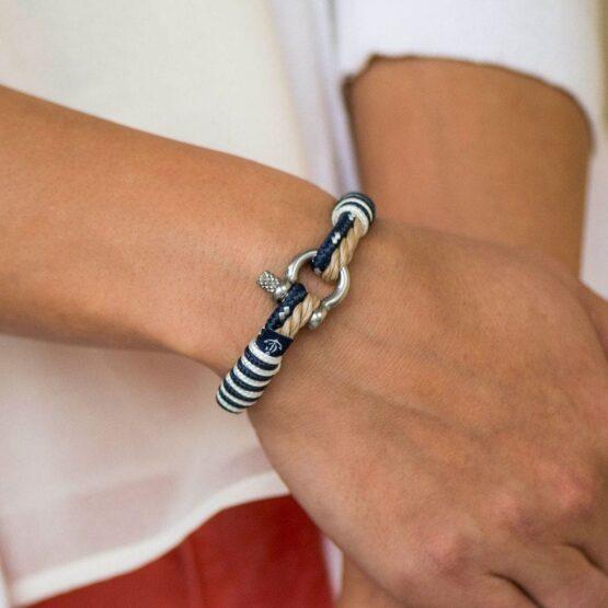 Бежево-синий тонкий браслет для мужчин и женщин — № 863 (Copy)