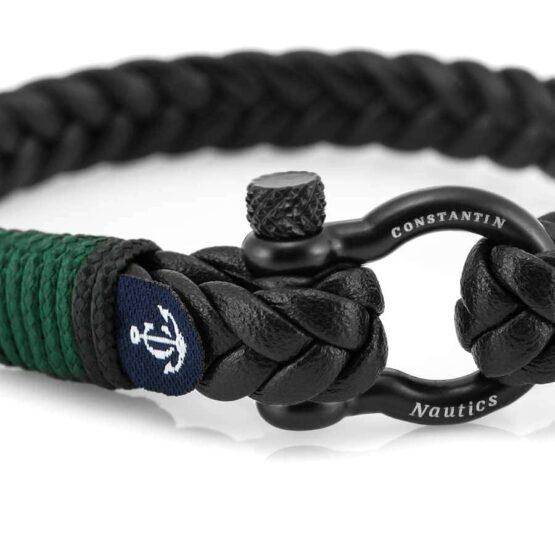 Кожаный стильный мужской чёрно-зелёный браслет — Jack Tar 10096