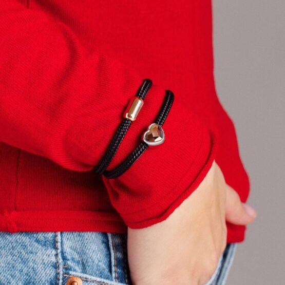 Двойной женский браслет чёрного цвета с камнем Swarovski — № 7221
