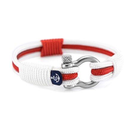 Трёхцветный бело-красно-белый браслет для мужчин и женщин — № 7530