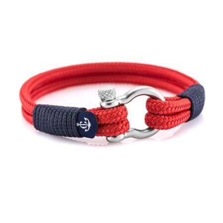 Красный браслет с синим акцентом для мужчин и женщин — № 3024