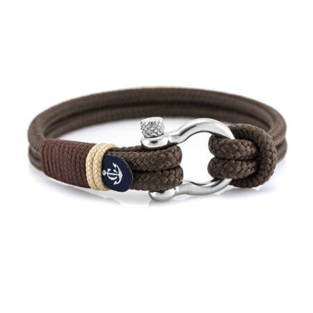 Коричневый браслет с кремовыми нитями и узлом — № 5126