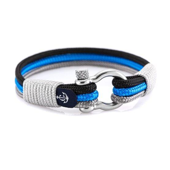 Синий браслет с серебристыми нитями и узлом — № 5125 (Копировать)