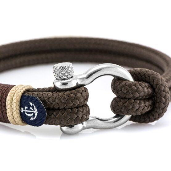 Чёрный браслет с кремовыми нитями с узлом — № 5127 (Копировать)