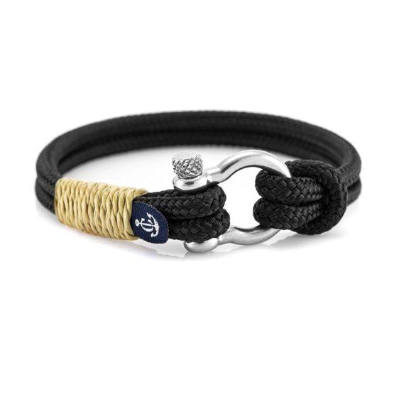 Чёрный браслет с кремовыми нитями с узлом — № 5127