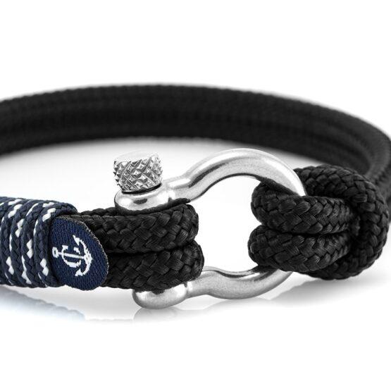 Чёрный браслет с узлом для женщин и мужчин — № 5133