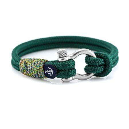 Зелёный браслет с узлом для мужчин — № 5134