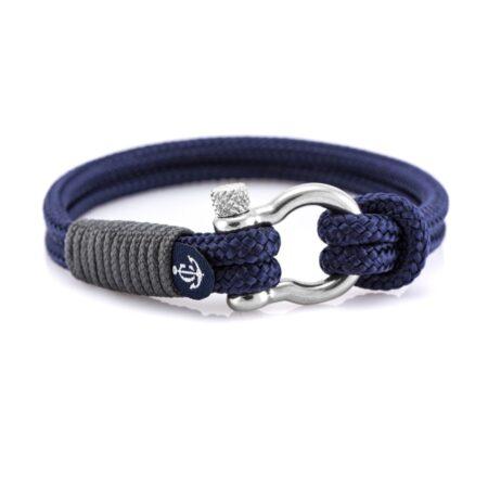 Чёрный браслет с узлом и синей нитью для мужчин — № 5133 (Копировать)