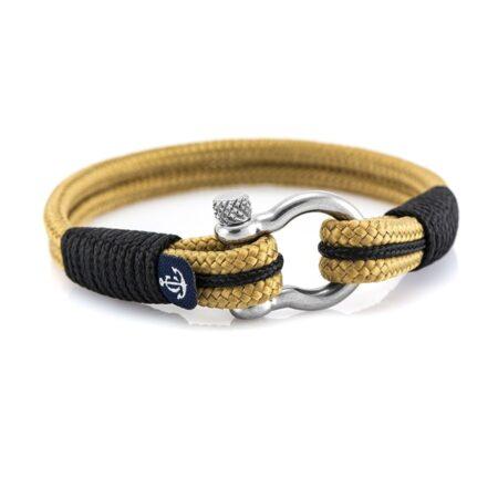 Бежевый браслет с чёрныйми нитями для мужчин и женщин — № 5123