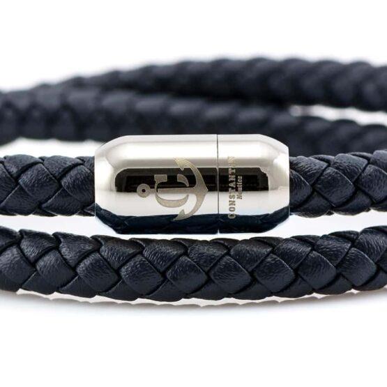 Синий мужской кожаный браслет на магнитной застёжке № 10050 (Copy)