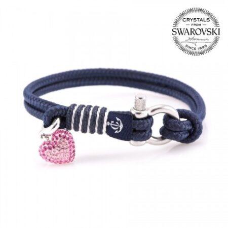 Синий браслет с кристаллом сердца Сваровски  — № 7117