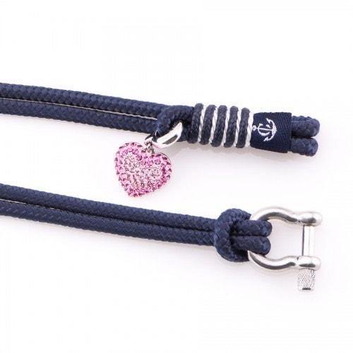 Синий женский браслет с золотым кристаллом Сваровски  — № 7117