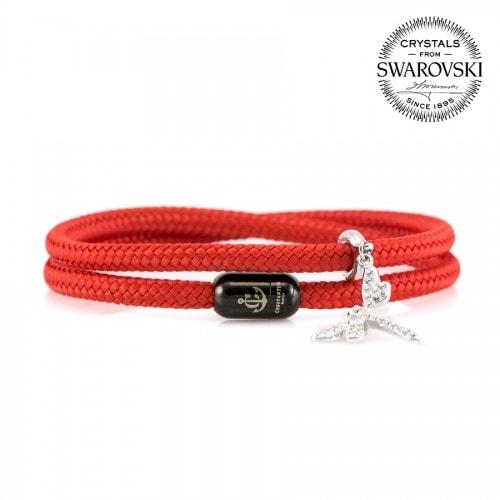 Двойной браслет сваровски красного цвета с магнитом для женщин — № 7205
