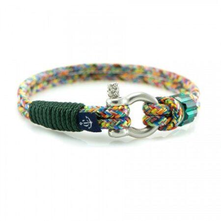 Разноцветный браслет сваровски с зеленым акцентом — № 7278
