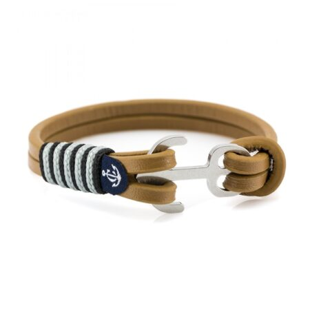 Коричневый кожаный браслет с якорем и серебристыми нитями — Jack Tar 10012