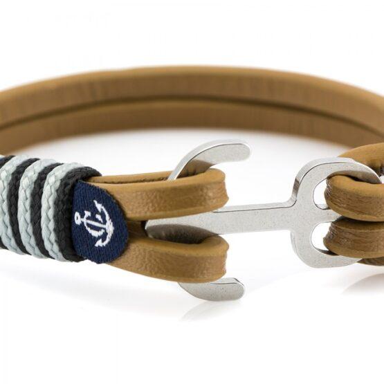 Коричневый кожаный браслет с якорем и серебристыми — Jack Tar 10012