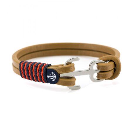 Коричневый кожаный браслет с якорем и красными нитями — Jack Tar 10014