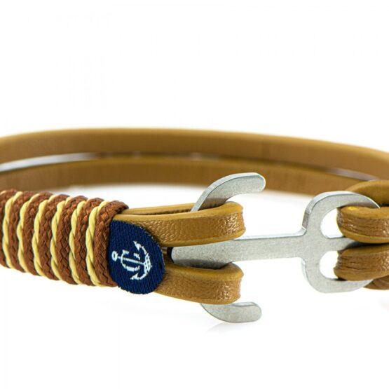 Коричневый кожаный браслет с якорем для мужчин и женщин — Jack Tar 10104