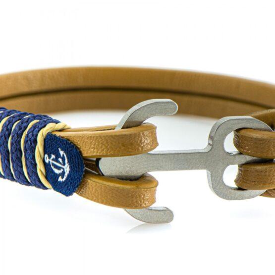 Коричневый кожаный браслет с якорем для женщин и мужчин — Jack Tar 10105