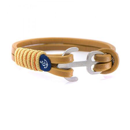 Коричневый кожаный браслет с якорем с бежево-рыжими нитями — Jack Tar 10106