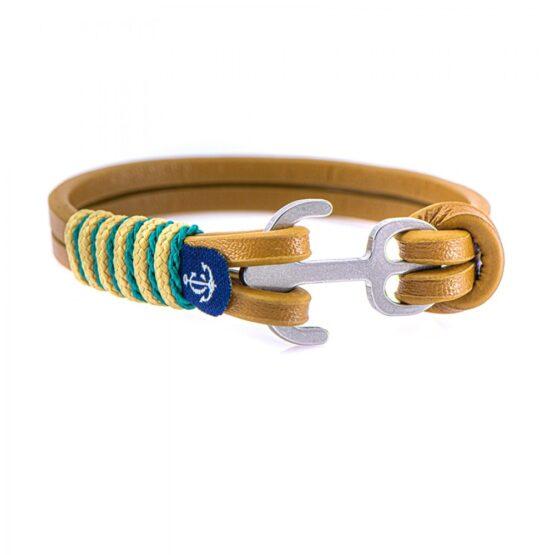 Коричневый кожаный браслет с якорем с бежево-голубыми нитями — Jack Tar 10107