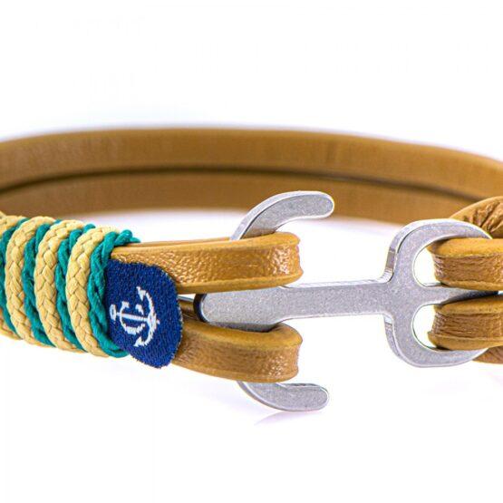 Коричневый кожаный браслет с якорем с бежево-рыжими нитями — Jack Tar 10106 (Копировать)