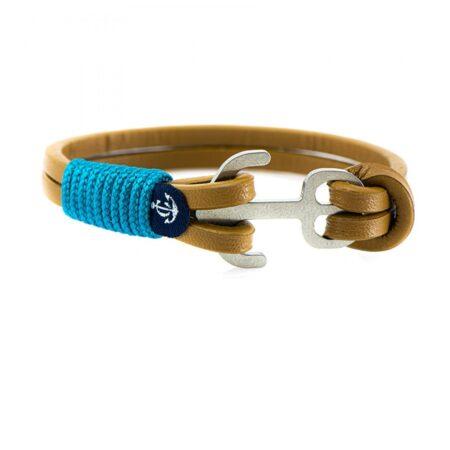 Коричневый кожаный браслет с якорем с синими нитями — Jack Tar 10108