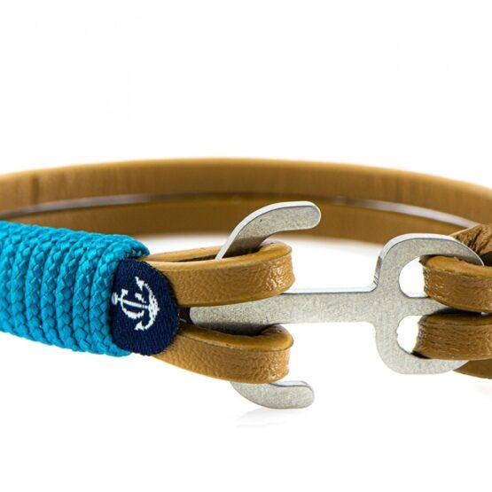 Коричневый кожаный браслет с якорем с бежево-голубыми нитями — Jack Tar 10107 (Копировать)