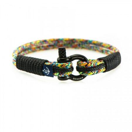 Тонкий цветной браслет с чёрными нитями для женщин и мужчин — № 0811