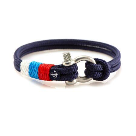 Тонкий браслет синего цвета с триколором — № 0816