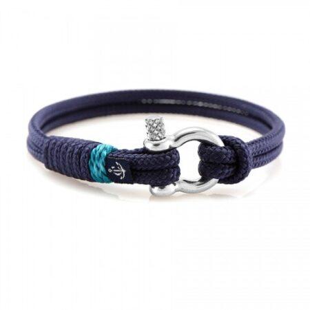 Тонкий синий браслет с бирюзовым акцентом — № 0815