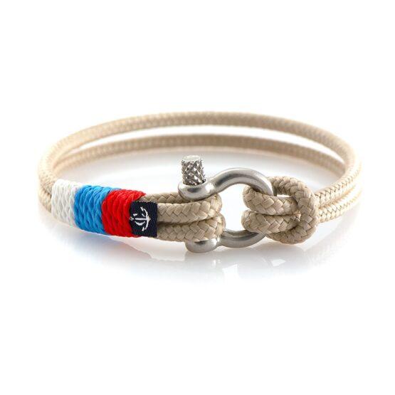 Тонкий браслет бежевого цвета с триколором — № 0817