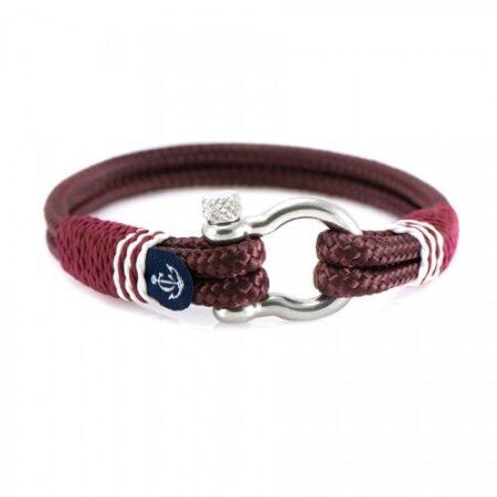Бордовый браслет с красным акцентом для мужчин и женщин — № 5145