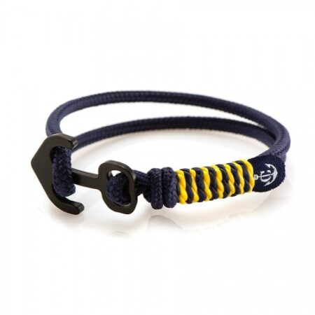 Синий браслет с якорем чёрного цвета с жёлтыми нитями — № 6123