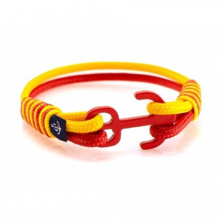 Браслет с якорем красно-жёлтого цвета — № 6125