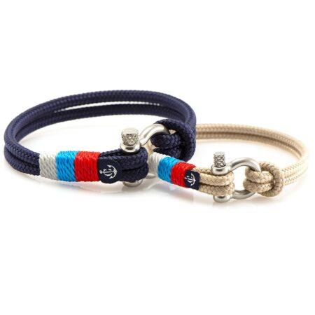 Парные браслеты синего и бежевого цвета с триколором — № 994