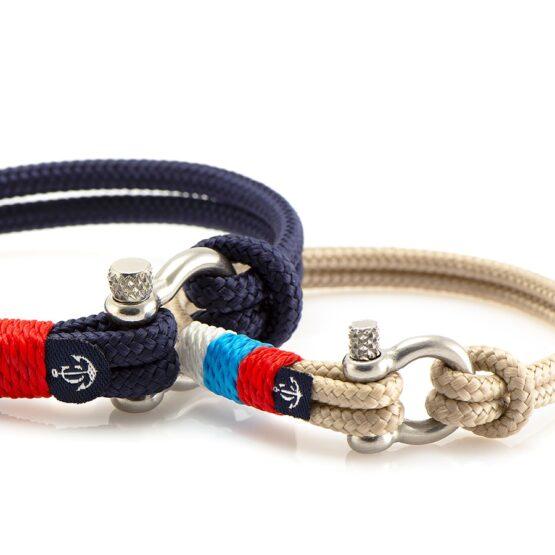 Парные браслеты синего и бежевого цвета с триколором — № 990 (Копировать)